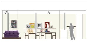 Abbildung zeigt Wandansicht für die Bereiche Podest, Sitzbereich, Küche