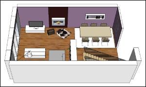 Abbildung zeigt eine 3D-Ansicht vom Erdgeschoss inklusive Kamin