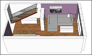 Abbdilung zeigt 3D-Ansicht von Sofabereich
