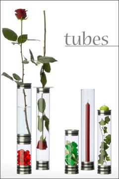 Abbildung zeigt die verschiedenen Einsatzmöglichkeiten des Vasensystems tubes.