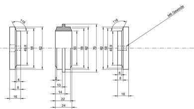 Abbildung zeigt technische Zeichnung von Vasensystem tubes